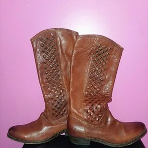 FRYE Pull-On Cognac Studded Riding Boots